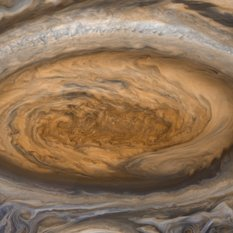 A Voyager 2 image of Jupiter's Great Red Spot, after image processing with modern tools