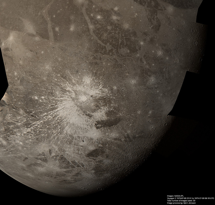 Voyager 2 mosaic of Ganymede