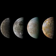 The Galilean satellites, from Galileo