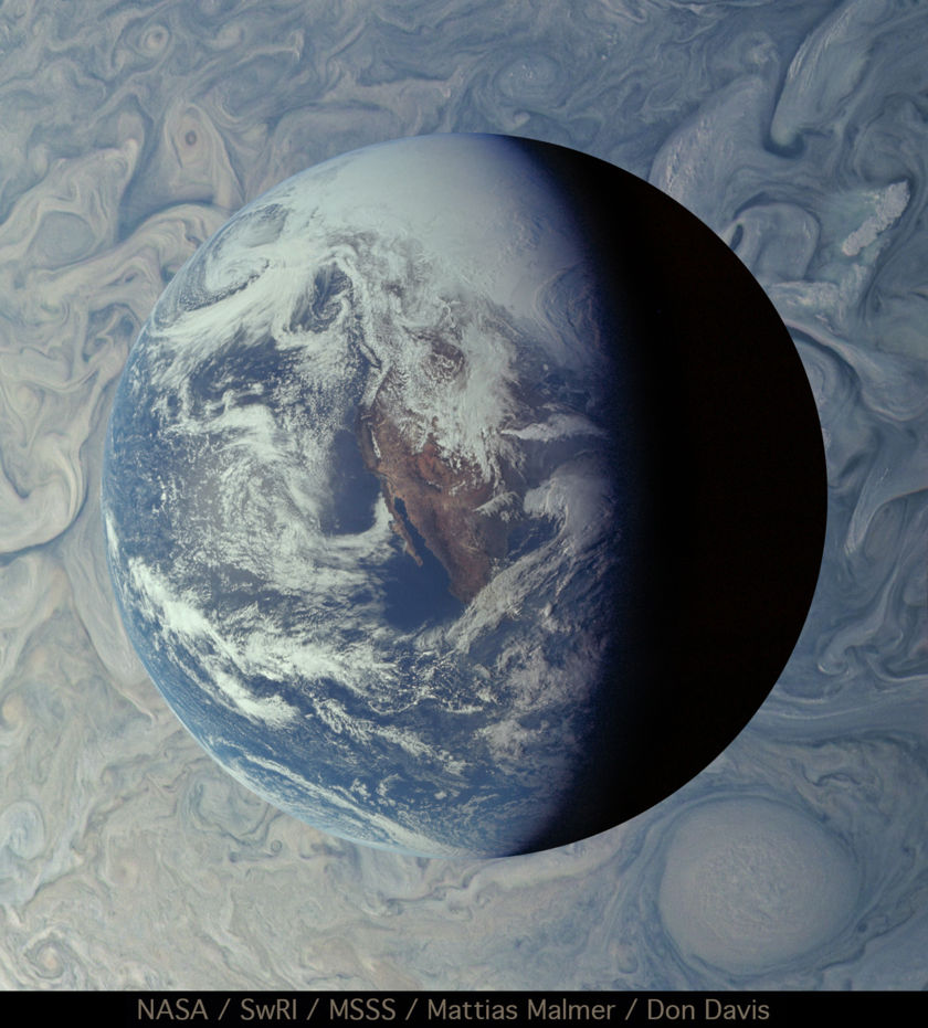 Clouds on Earth and Jupiter