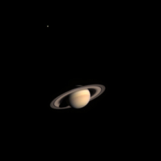 Cassini's first view of Saturn and Titan