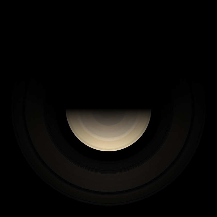 Saturnlight on the rings near equinox (simulation)