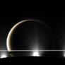 A Moon Through the Plumes