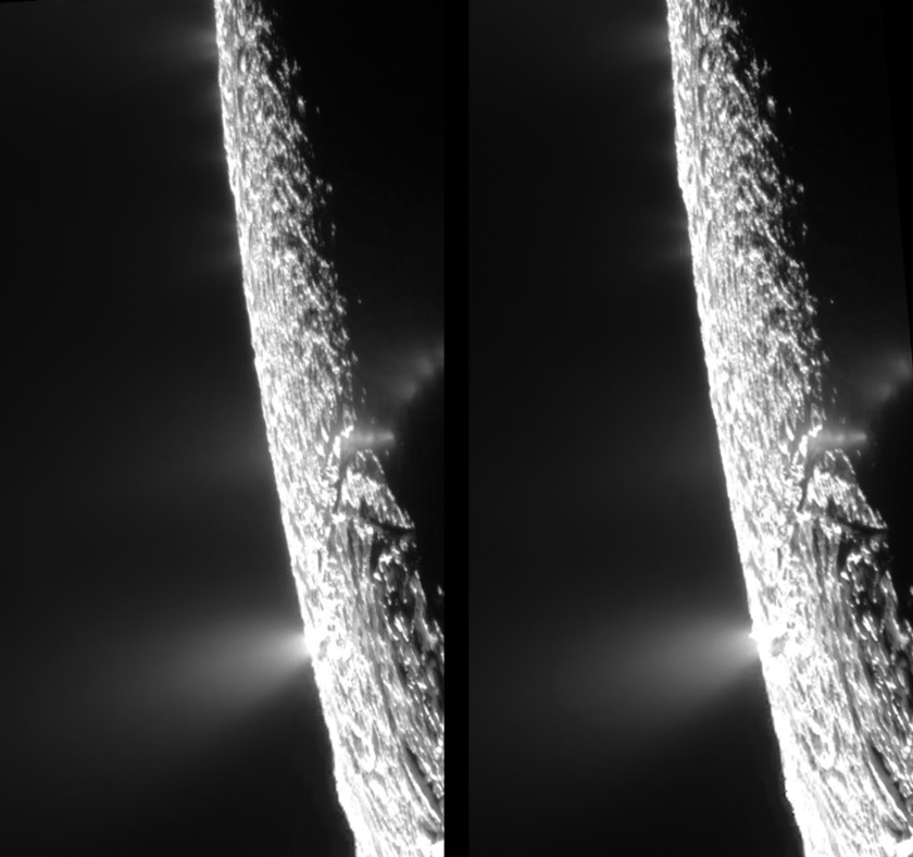 Enceladus' plumes in cross-eyed stereo