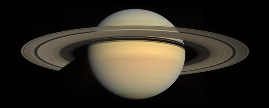 Saturn global view from Cassini, rings open