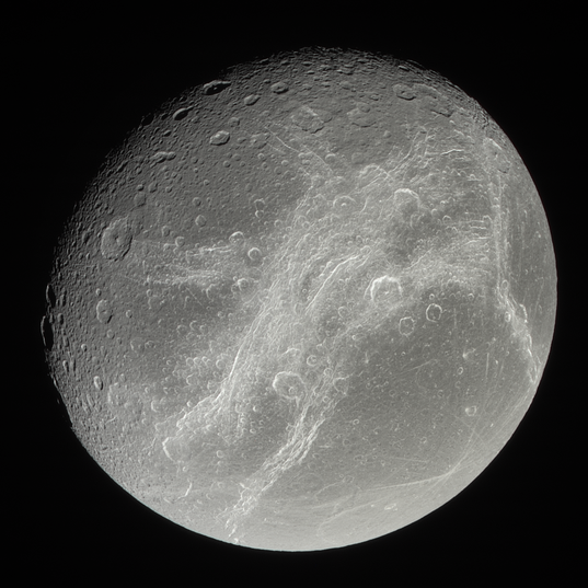 Global color view of Saturn's moon Dione from Cassini