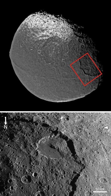 Landslide in Iapetus' Malun crater