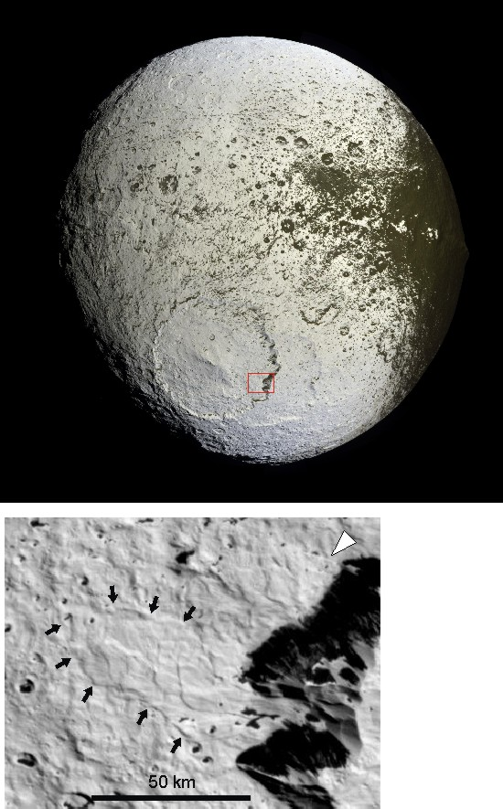 Large, lobate landslide in Iapetus' Engelier basin