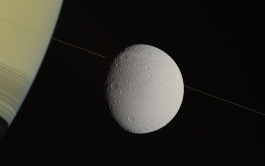 Dione and Saturn and an almost invisible ring