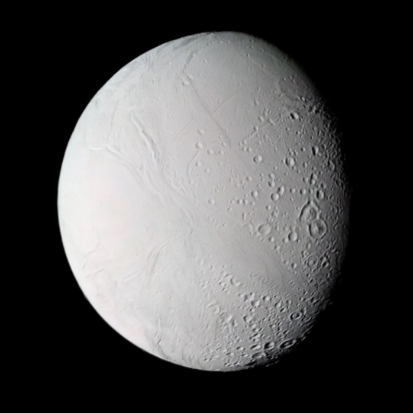 Voyager 2's highest-resolution view of Enceladus