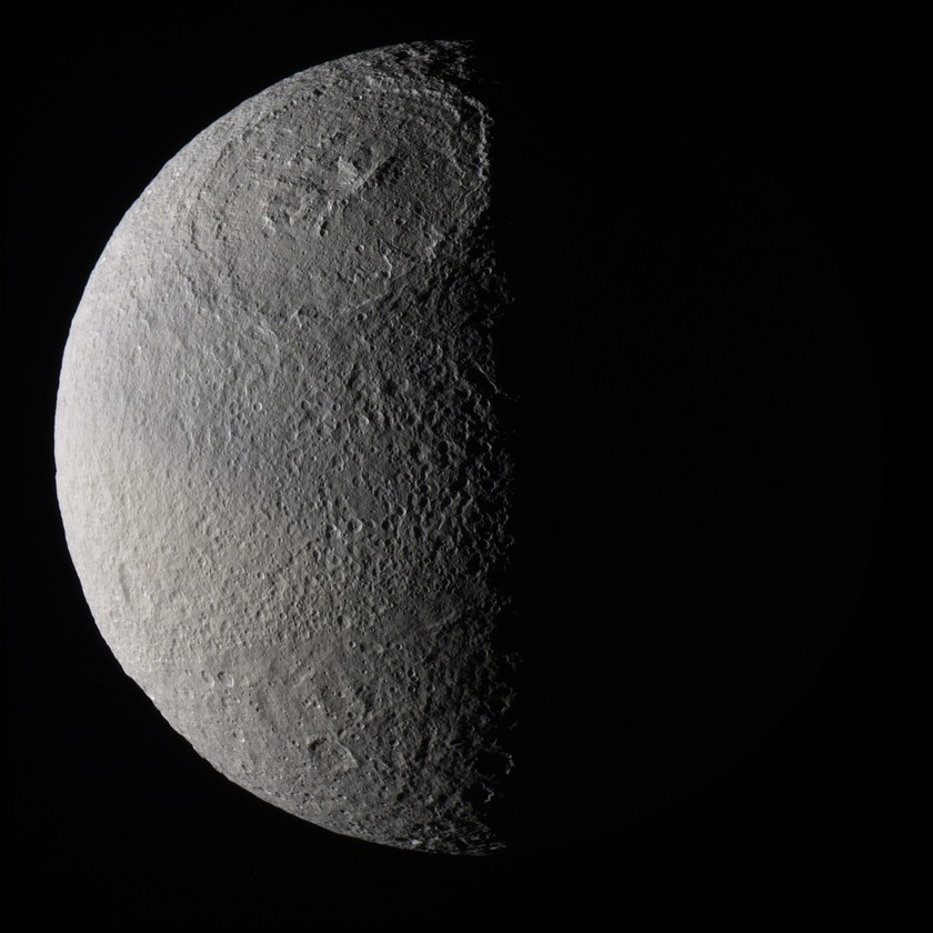 Global color view of a half-phase Tethys, with prominent Odysseus basin