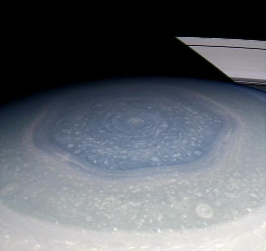 Saturn's hexagon in living color