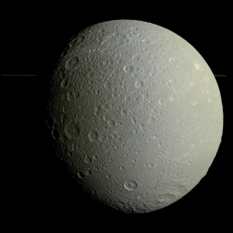 Super high-resolution global view of Dione, plus rings