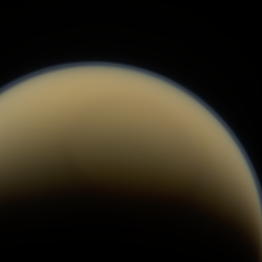 Cassini looks across Titan's north pole, May 19, 2014
