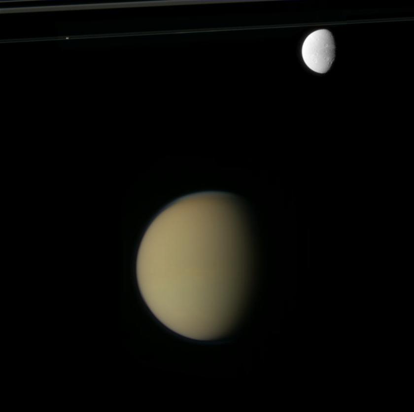 Titan, Dione, rings, Prometheus