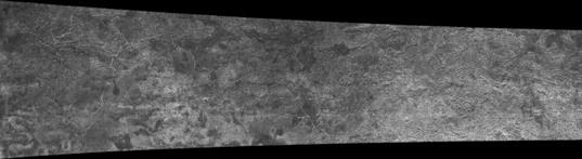Cassini RADAR swath on Titan, flyby T13, April 30, 2006 (center left section)