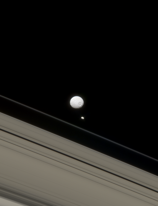 Mimas, Pandora, and Saturn's rings