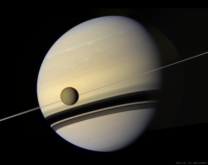 Saturn and Titan in true color
