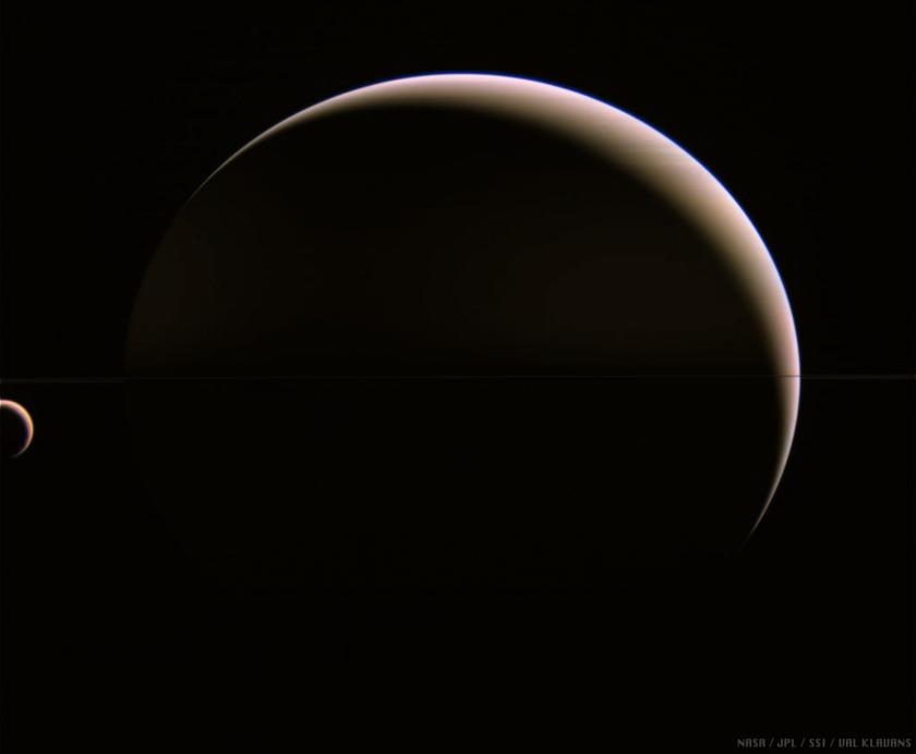 Crescent Titan and Saturn