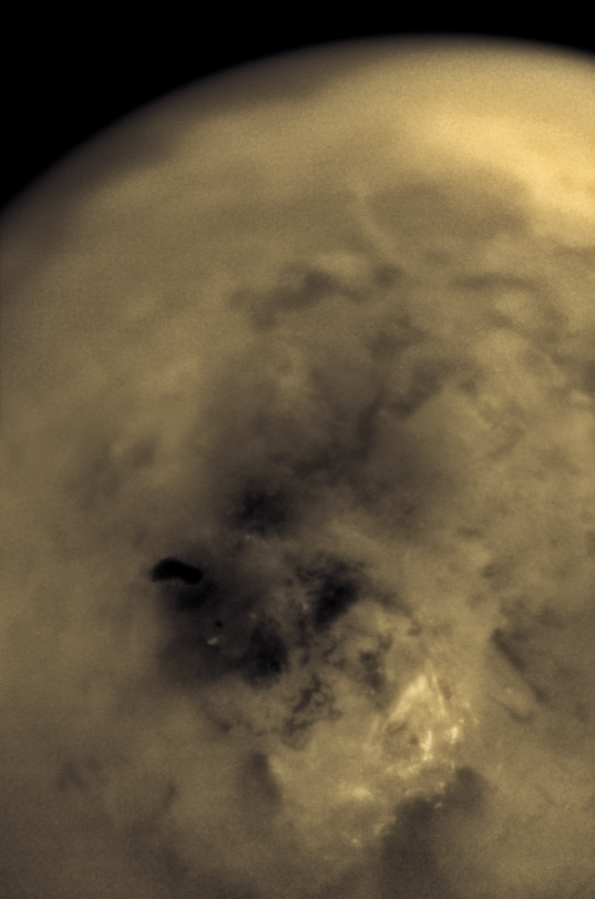 Titan's south pole and Ontario Lacus