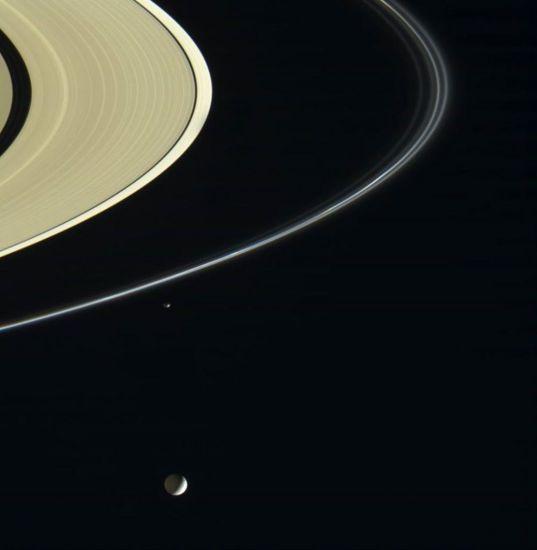 Mimas and Saturn's Rings