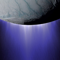 "Artist's impression of plumes of water vapor emerging from the polar ""tiger stripes"" on Saturn's moon Enceladus"