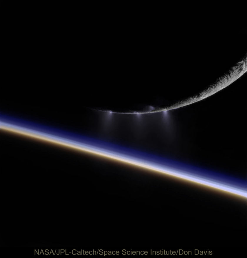 Enceladus over the Dawn