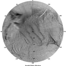 Named features on Enceladus' south pole