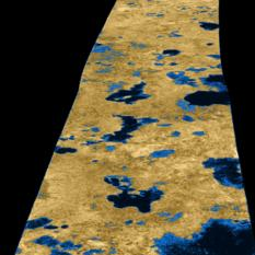 False color view of Titan's northern lakes