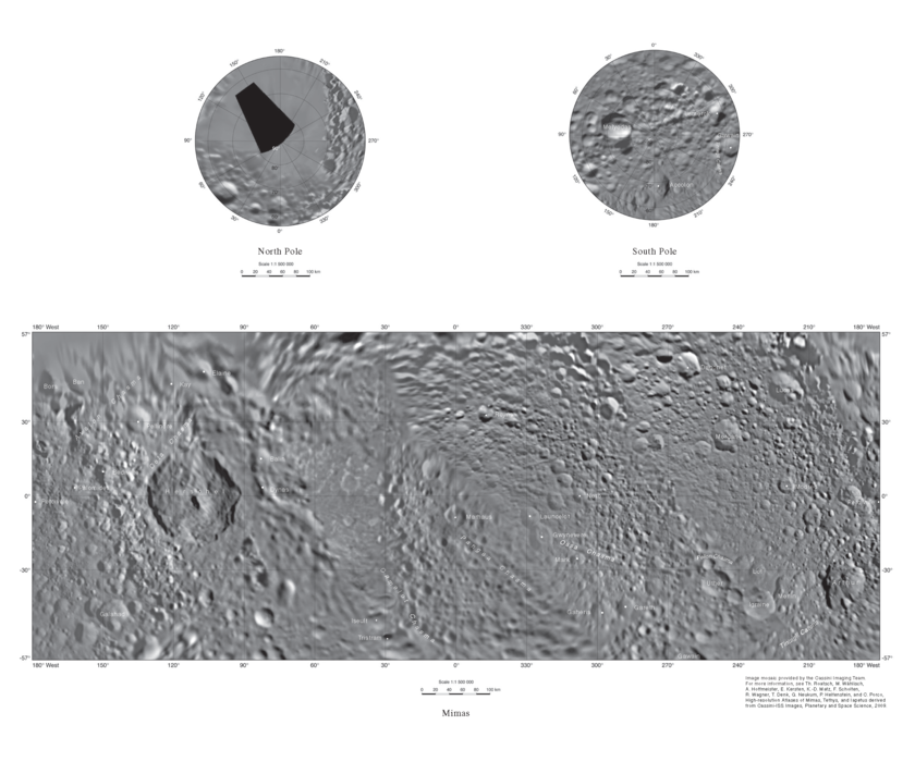 Map of Mimas with place names