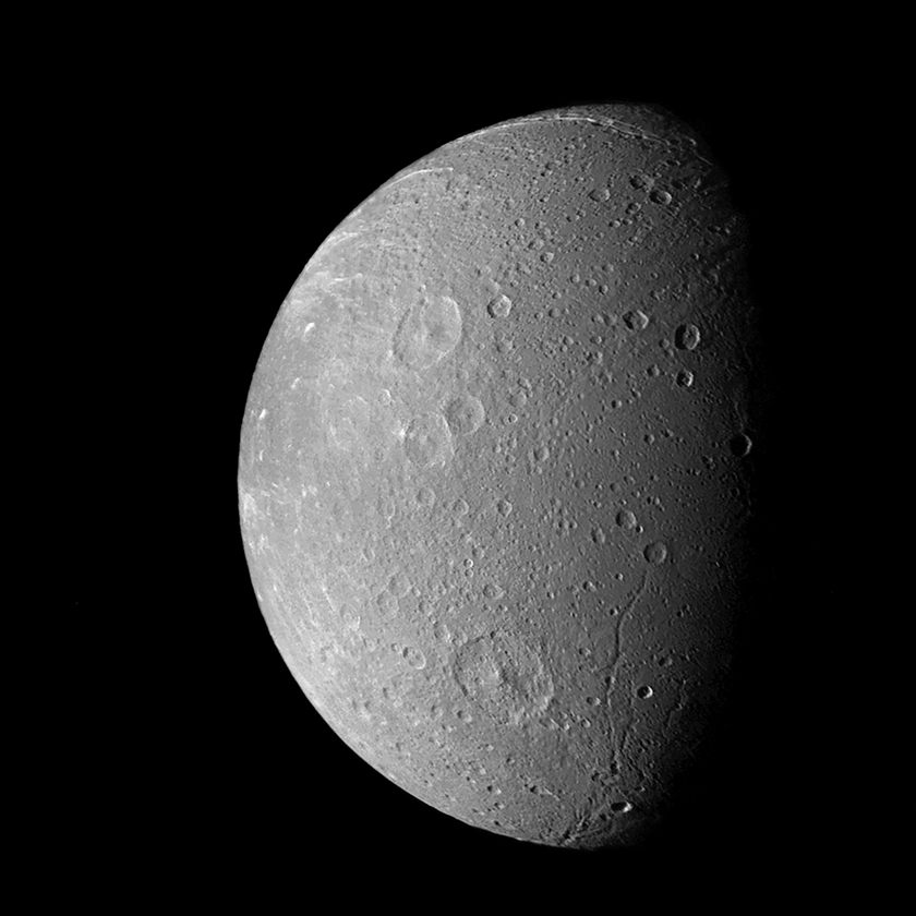 Voyager's best view of Dione