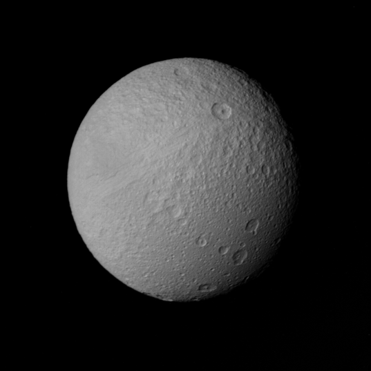 Voyager's best image of Tethys