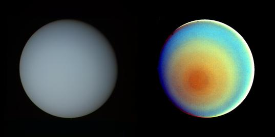 Uranus in true and false color