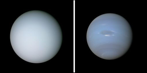 Uranus (left) and Neptune (right)