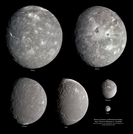 High-resolution views of Uranus' moons from Voyager 2