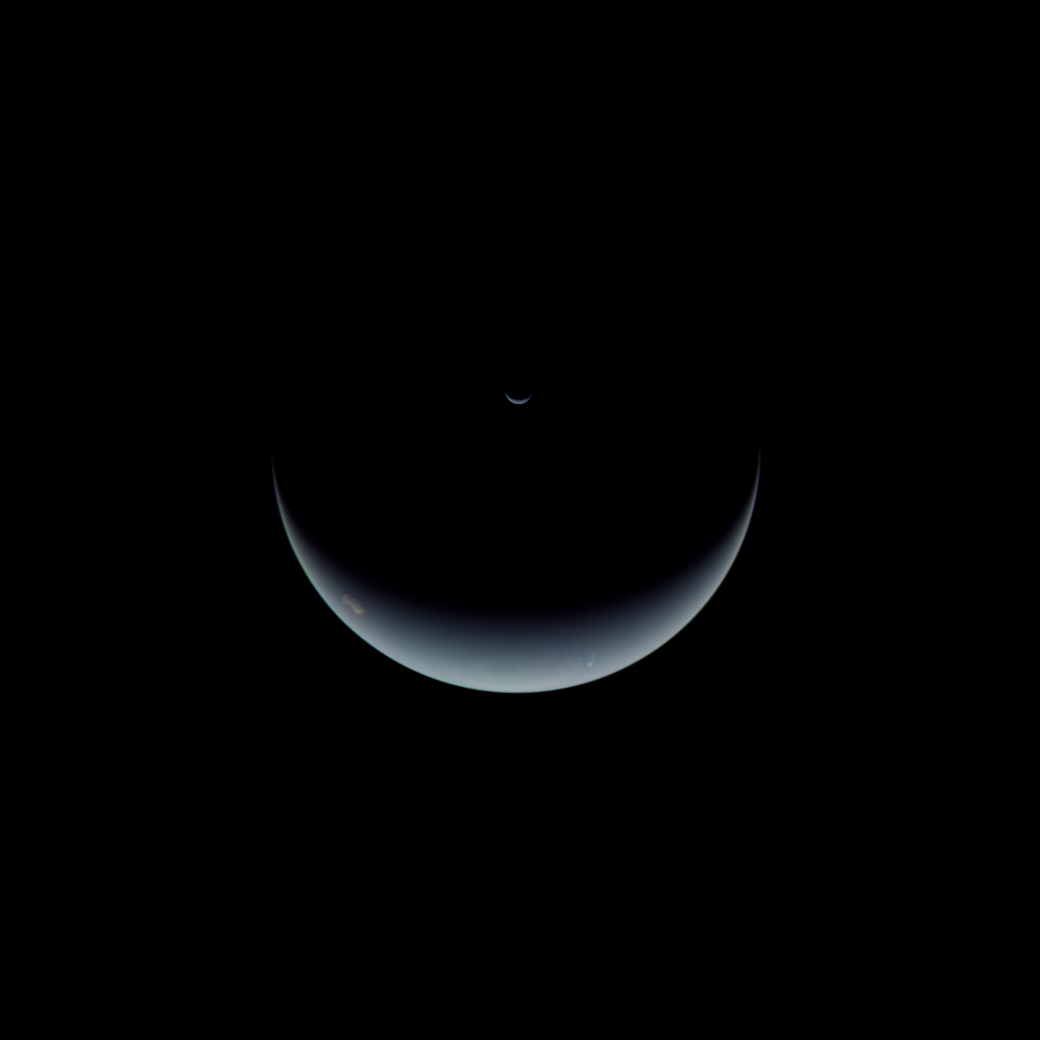 Crescent Neptune And Triton The Planetary Society