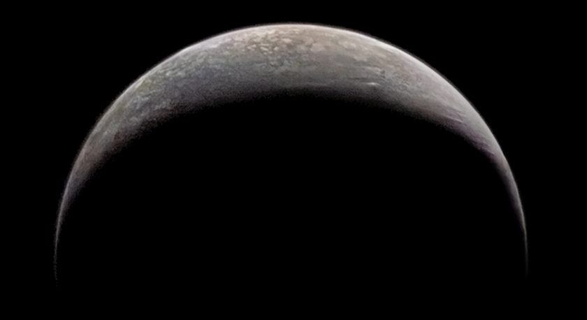 Voyager 2's departing look at Triton's crescent
