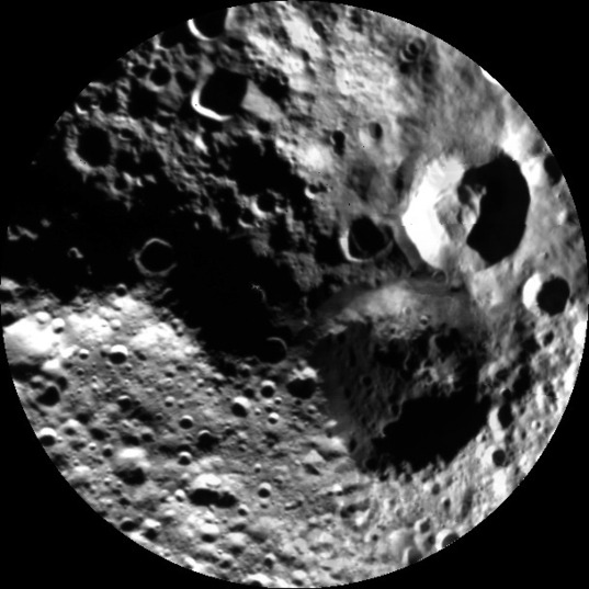Dawn's departing view of Vesta's shadowy north pole