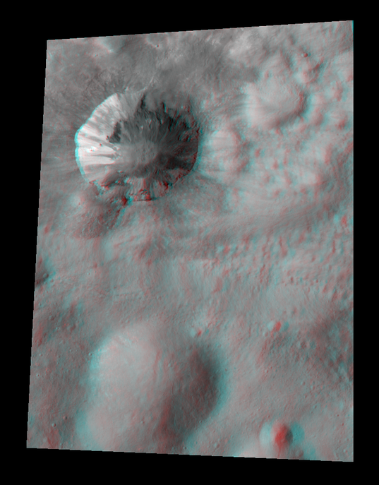 Cornelia crater, Vesta, in stereo (red-blue anaglyph)