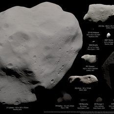 Asteroids and comets visited by spacecraft as of December 2012, in color, excepting Vesta [DEPRECATED]