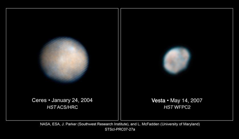 Ceres and Vesta compared