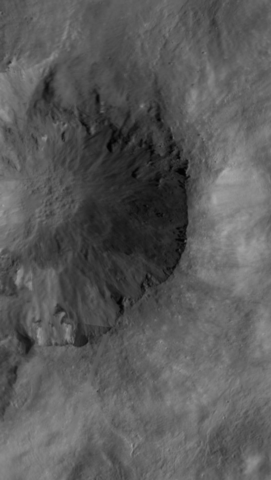 Crop from the Numisia quadrangle of the Vesta LAMO atlas covering Cornelia crater