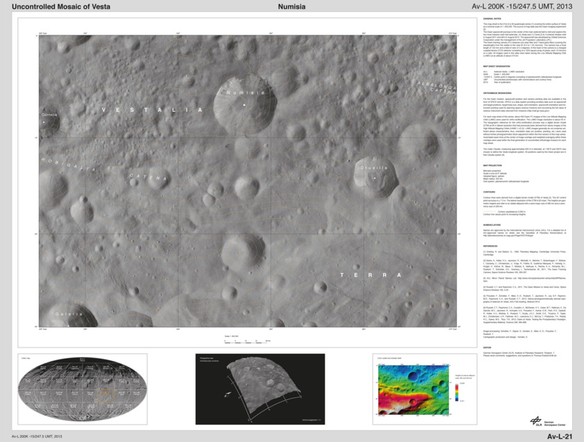 Numisa quadrangle, Vesta Low-Altitude Mapping Orbit atlas