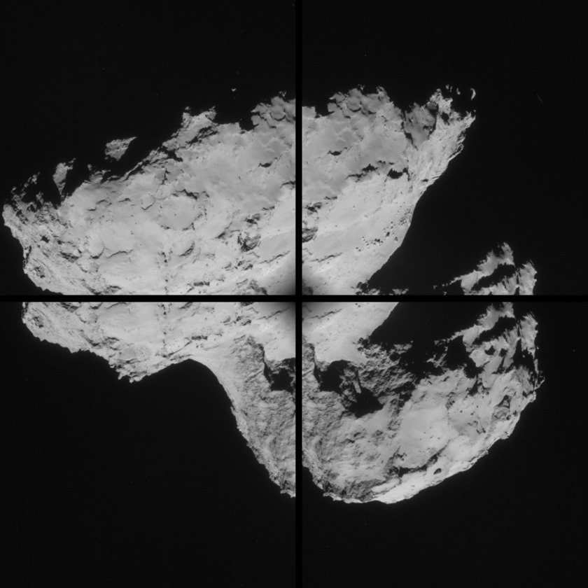 Four-frame NavCam mosaic on Churyumov-Gerasimenko, August 31, 2014