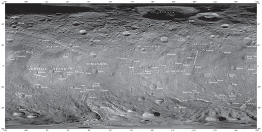 Vesta's place names as of September 2014