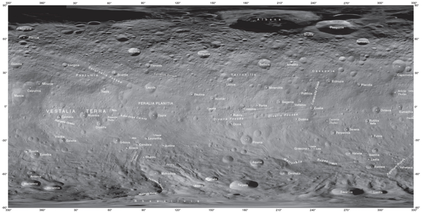 Vesta's place names as of September 2014