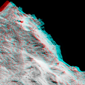 Synthetic 3D view of Churyumov-Gerasimenko from September 5, 2014 image