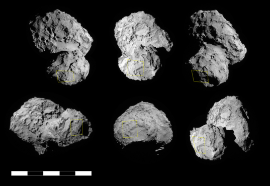Many Rosetta NavCam views of the selected Philae landing site