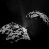 Synthetic 3D view of Churyumov-Gerasimenko from September 26, 2014 image