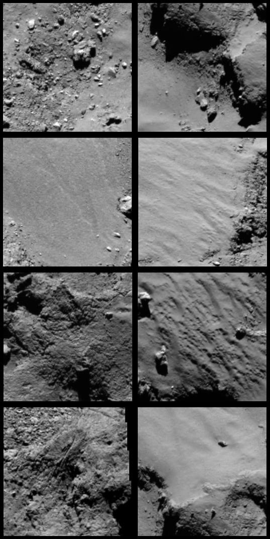 Detailed views from Rosetta OSIRIS mosaic of Philae landing site